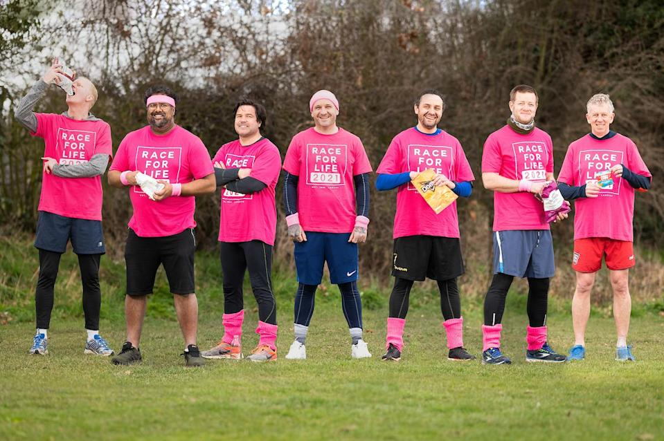 Seven poker-playing friends who call themselves the House of Snacks will complete six marathons each for Cancer Research UK. (Cancer Research UK/ PA)