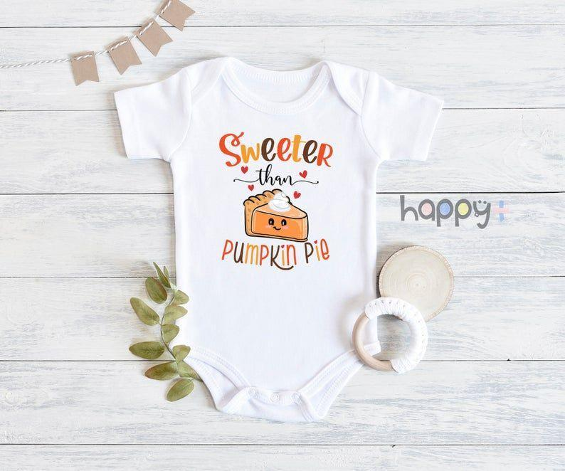 """<p><strong>HappyAddition</strong></p><p>etsy.com</p><p><strong>$19.96</strong></p><p><a href=""""https://go.redirectingat.com?id=74968X1596630&url=https%3A%2F%2Fwww.etsy.com%2Flisting%2F827984754%2Fsweeter-than-pumpkin-pie-onesie-fall&sref=https%3A%2F%2Fwww.goodhousekeeping.com%2Fholidays%2Fthanksgiving-ideas%2Fg23100250%2Fbest-baby-thanksgiving-outfits%2F"""" rel=""""nofollow noopener"""" target=""""_blank"""" data-ylk=""""slk:Shop Now"""" class=""""link rapid-noclick-resp"""">Shop Now</a></p><p>This outfit recognizes that we're really all just in it for the dessert. It's available in short or long sleeves, starting in newborn sizes.</p>"""
