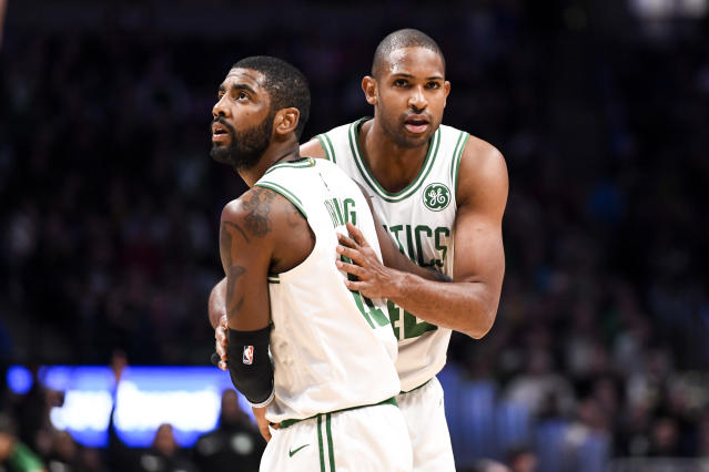 "Boston <a class=""link rapid-noclick-resp"" href=""/nba/teams/boston/"" data-ylk=""slk:Celtics"">Celtics</a> stars <a class=""link rapid-noclick-resp"" href=""/nba/players/4840/"" data-ylk=""slk:Kyrie Irving"">Kyrie Irving</a> and <a class=""link rapid-noclick-resp"" href=""/nba/players/4245/"" data-ylk=""slk:Al Horford"">Al Horford</a> are reportedly leaving in free agency. (Getty Images)"