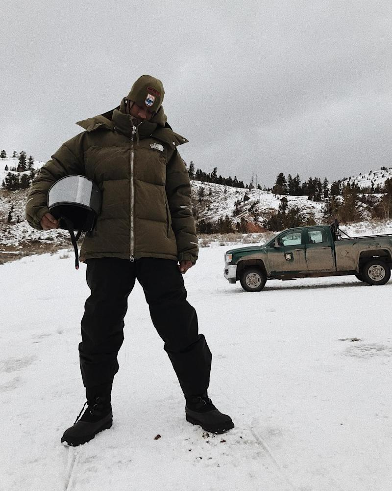 Travis Scott took a break from recording with Kanye West to hit the slopes in Jackson Hole, Wyoming in March 2018.