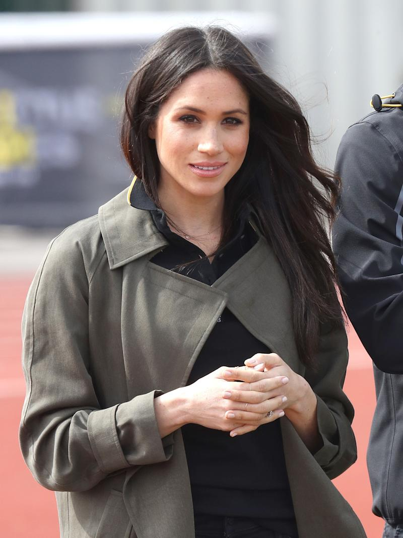 Meghan Markle attends the U.K. team trials for the Invictus Games Sydney at the University of Bath Sports Training Village on April 6, 2018, in Bath, England. (Photo: Chris Jackson via Getty Images)