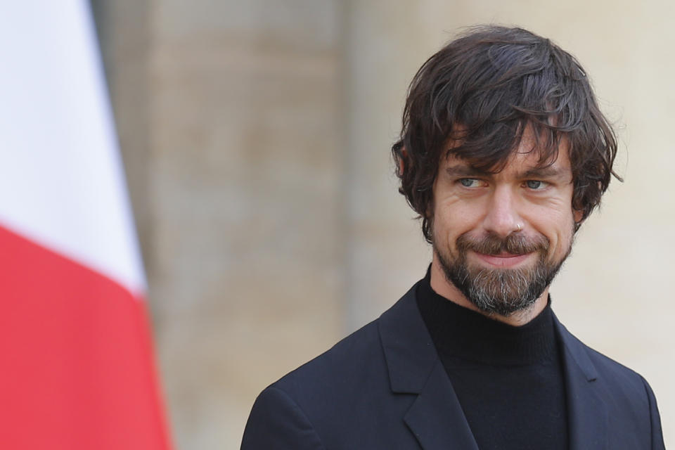 Twitter CEO Jack Dorsey leaves after his talk with French President Emmanuel Macron at the Elysee Palace Friday, June 7, 2019 in Paris. (AP Photo/Francois Mori)