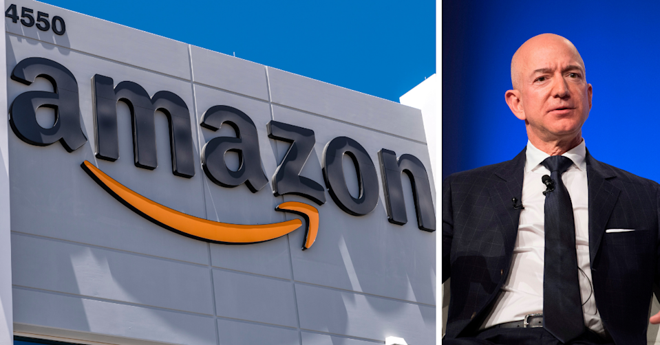 Jeff Bezos and the Amazon logo on a building