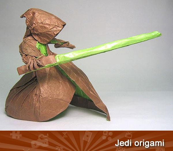 "<p class=""MsoNormal"">JEDI ORIGAMI -- The force is strong but delicate in artist Philip West's awesome origami Jedi. Folded from a single, uncut square, it's an impressive display of paper power.</p><p class=""MsoNormal""></p><p class=""MsoNormal"">(<a href=""http://www.flickr.com/photos/phillipwest/55087615"">http://www.flickr.com/photos/phillipwest/55087615</a>)</p>"