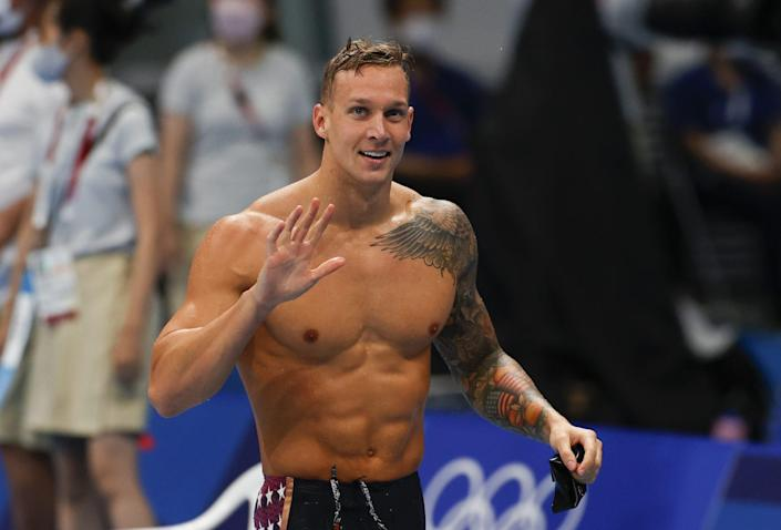 <p>Dressel, 24, set an Olympic record in the 50m free when he swam a time of 21.07 seconds.</p>