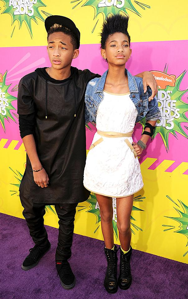 "Jaden and Willow Smith left their famous parents at home for a fun night out. While the ""Whip My Hair"" singer looked adorable in a white mini, cropped jean jacket, and combat boots, the same cannot be said for her older brother. Seems like he's been hanging around a little too much with Justin Bieber, who has been spotted wearing those same hideous saggy-crotch skinny jeans."