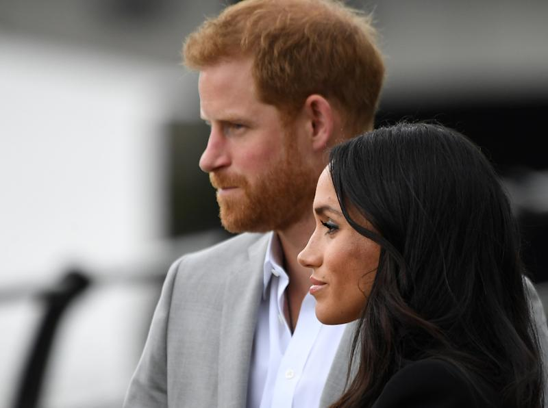 Prince Harry and Meghan Markle at the Famine Memorial in Dublin on July 11. (Cathal McNaughton / Reuters)