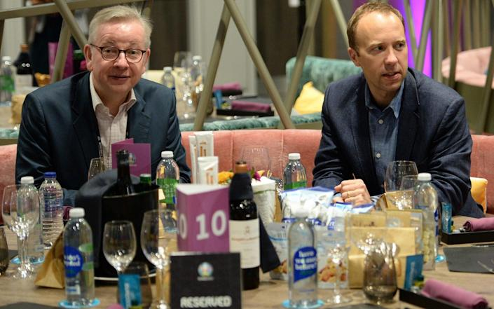 Michael Gove and Matt Hancock during the UEFA Euro 2020 match between England and Scotland at Wembley on Friday - Eamonn McCormack/UEFA via Getty Images