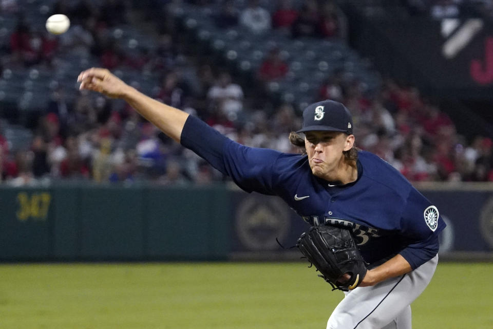 Seattle Mariners starting pitcher Logan Gilbert throws to the plate during the first inning of a baseball game against the Los Angeles Angels Friday, Sept. 24, 2021, in Anaheim, Calif. (AP Photo/Mark J. Terrill)