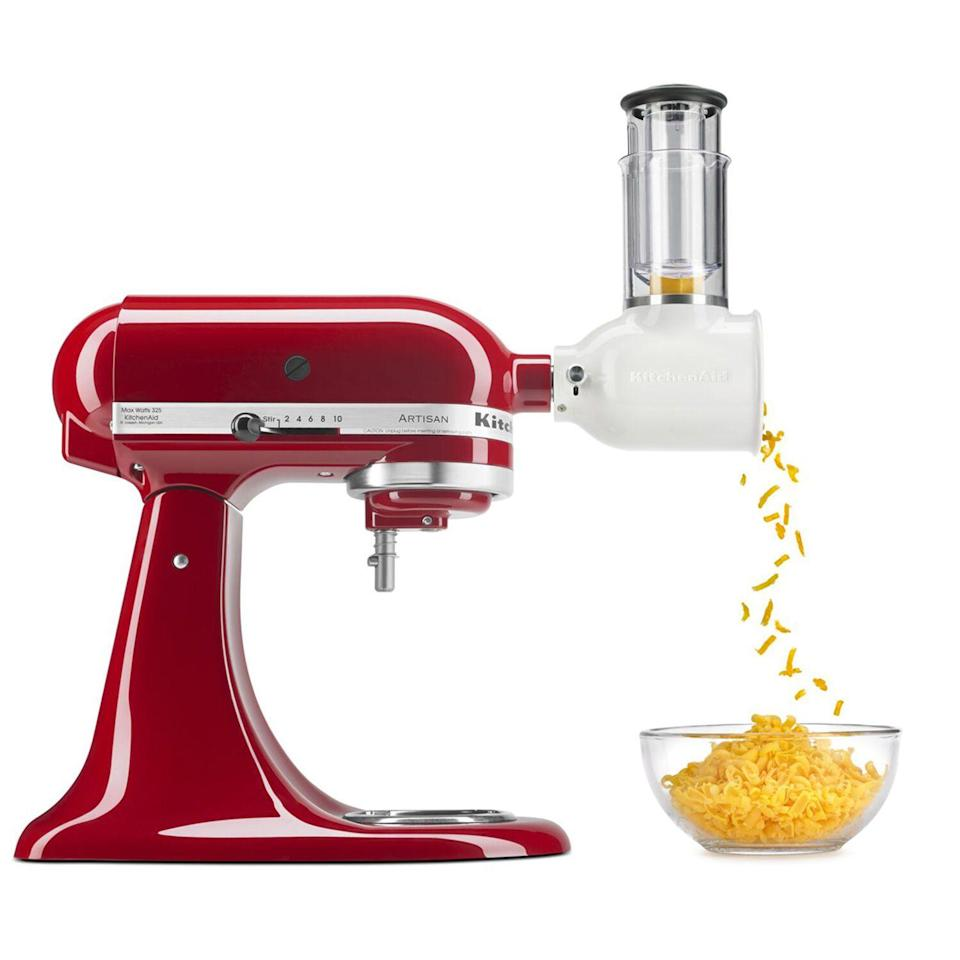 "<p><strong>KitchenAid®</strong></p><p>surlatable.com</p><p><strong>$49.95</strong></p><p><a href=""https://go.redirectingat.com?id=74968X1596630&url=https%3A%2F%2Fwww.surlatable.com%2Fkitchenaid-fresh-prep-slicershredder-attachment%2FPRO-3486503.html&sref=https%3A%2F%2Fwww.goodhousekeeping.com%2Fcooking-tools%2Fg34431819%2Fbest-kitchenaid-attachments%2F"" rel=""nofollow noopener"" target=""_blank"" data-ylk=""slk:Shop Now"" class=""link rapid-noclick-resp"">Shop Now</a></p><p>Unless you're a professional chef, shredding lettuce with your knife (or cheese with a grater!) feels near impossible. This shredding and slicing attachment makes it easy to enjoy freshly shredded produce and dairy. You'll swap between two different blades for uniformly sliced items — cucumbers, onions, or tomatoes, as examples — as well as shredded ingredients.<br></p>"