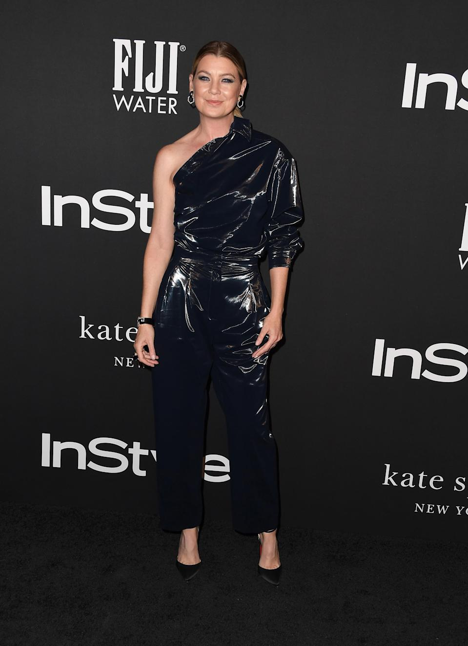 <p>The 'Grey's Anatomy' actress worked an edgy, one-shoulder Max Mara jumpsuit for the event. <em>[Photo: Getty]</em> </p>