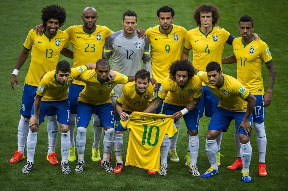 The Brazil team that lost 7-1 to Germany in their World Cup clash in Belo Horizonte on July 8, 2014 (AFP Photo/Odd Andersen)