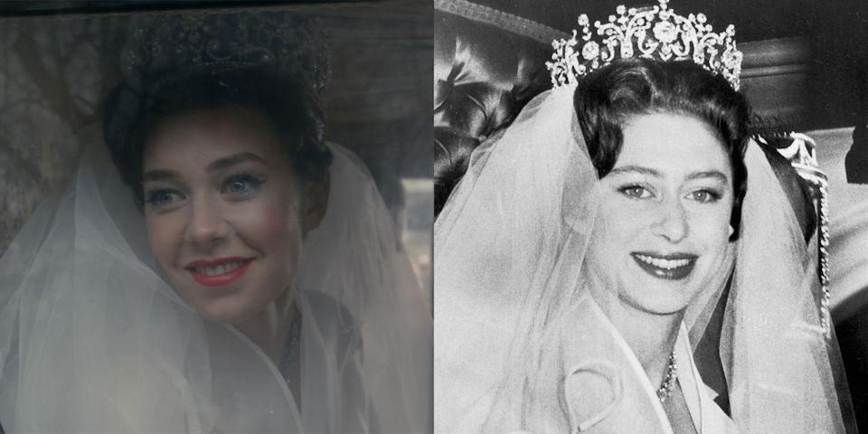 <p>Vanessa Kirby played Princess Margaret, whose love life provided two key storylines during the first two seasons of <em>The Crown</em>. Following her doomed relationship with Group Captain Peter Townsend, which was forbidden by the Church of England given Townsend's status as a divorcé, Margaret fell in love with photographer Tony Armstrong-Jones. Their wedding at Westminster Abbey in 1960 was the first royal wedding to be televised.</p>