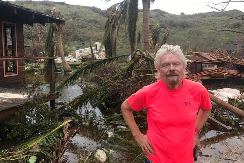 Richard Branson posted this picture from Puerto Rico after revealing the devastation to Necker Island: @richardbranson