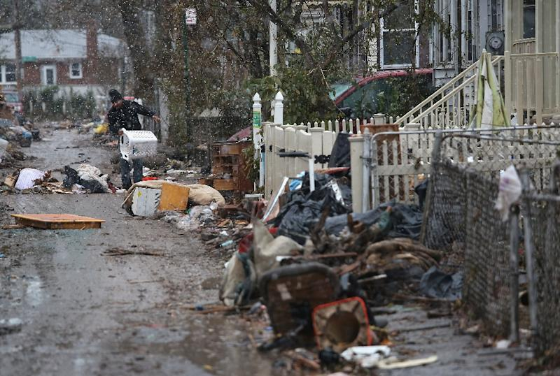 A street in the New York borough of Staten Island after Hurricane Sandy in 2012 killed about 40 people in the city
