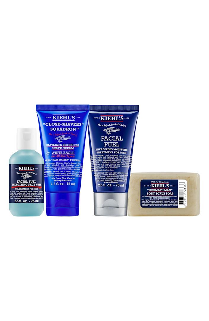 """<p><strong>KIEHL'S SINCE 1851</strong></p><p>nordstrom.com</p><p><strong>$40.00</strong></p><p><a href=""""https://go.redirectingat.com?id=74968X1596630&url=https%3A%2F%2Fwww.nordstrom.com%2Fs%2Fkiehls-since-1851-mens-groom-on-the-go-set-usd-55-value%2F5749009&sref=https%3A%2F%2Fwww.menshealth.com%2Ftechnology-gear%2Fg19521968%2Fcool-gifts-for-dad%2F"""" rel=""""nofollow noopener"""" target=""""_blank"""" data-ylk=""""slk:BUY IT HERE"""" class=""""link rapid-noclick-resp"""">BUY IT HERE</a></p><p>Need a practical Father's Day gift idea for the dad who wants nothing? This set of travel-sized best sellers from Kiehl's allows him to test out a face wash, bar soap, moisturizer, and face wash. If he loves an item, he can add it to his daily grooming regimen.</p>"""