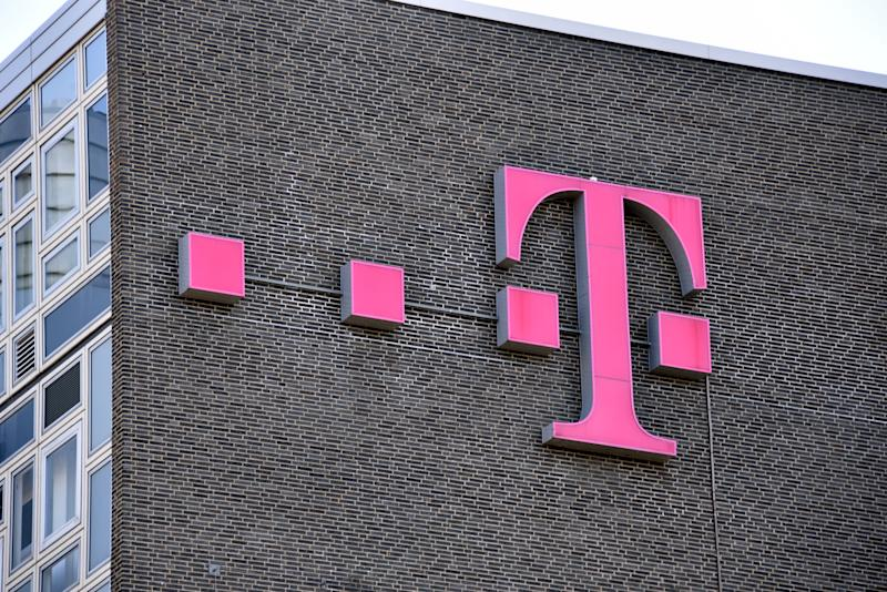 10 April 2020, North Rhine-Westphalia, Cologne: Logo, lettering of the telecommunications company Telekom on a wall Photo: Horst Galuschka/dpa/Horst Galuschka dpa (Photo by Horst Galuschka/picture alliance via Getty Images)