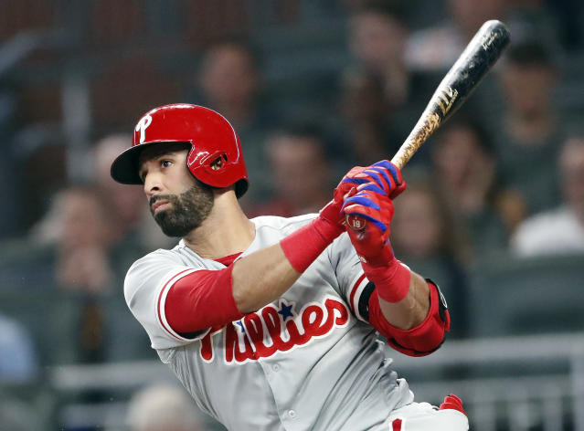 Philadelphia Phillies right fielder Jose Bautista drives in a run with a base hit in the seventh inning of a baseball game against the Atlanta Braves on Friday, Sept. 21, 2018, in Atlanta. (AP Photo/John Bazemore)
