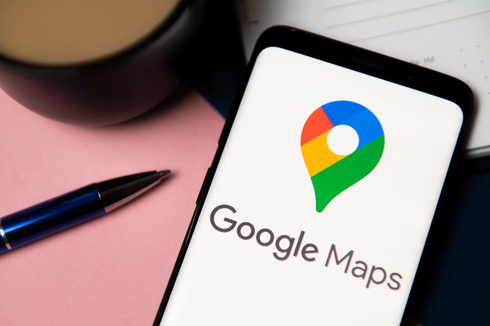 POLAND - 2020/10/06: In this photo illustration the Google Maps logo displayed on a smartphone. (Photo Illustration by Mateusz Slodkowski/SOPA Images/LightRocket via Getty Images)