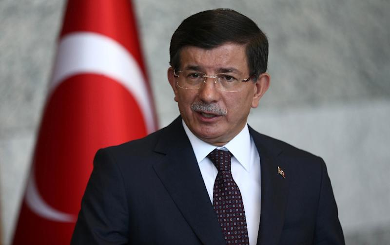 Turkey's Prime Minister Ahmet Davutoglu gives a statement on the situation with the Islamic State and other militant groups during a press conference in Ankara on July 24, 2015 (AFP Photo/Adem Altan)