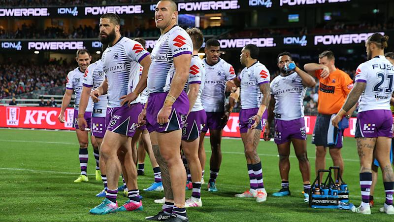 Storm players, pictured here during their loss to the Roosters.