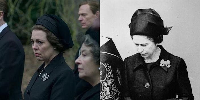 <p>The royal family had a complicated relationship with the Duke of Windsor, but when he passed away in 1972, he was buried on the grounds of the Windsor Estate. Queen Elizabeth wore a simple black coat dress, diamond ribbon brooch and fascinator for the funeral in real-life and in season 3.</p>