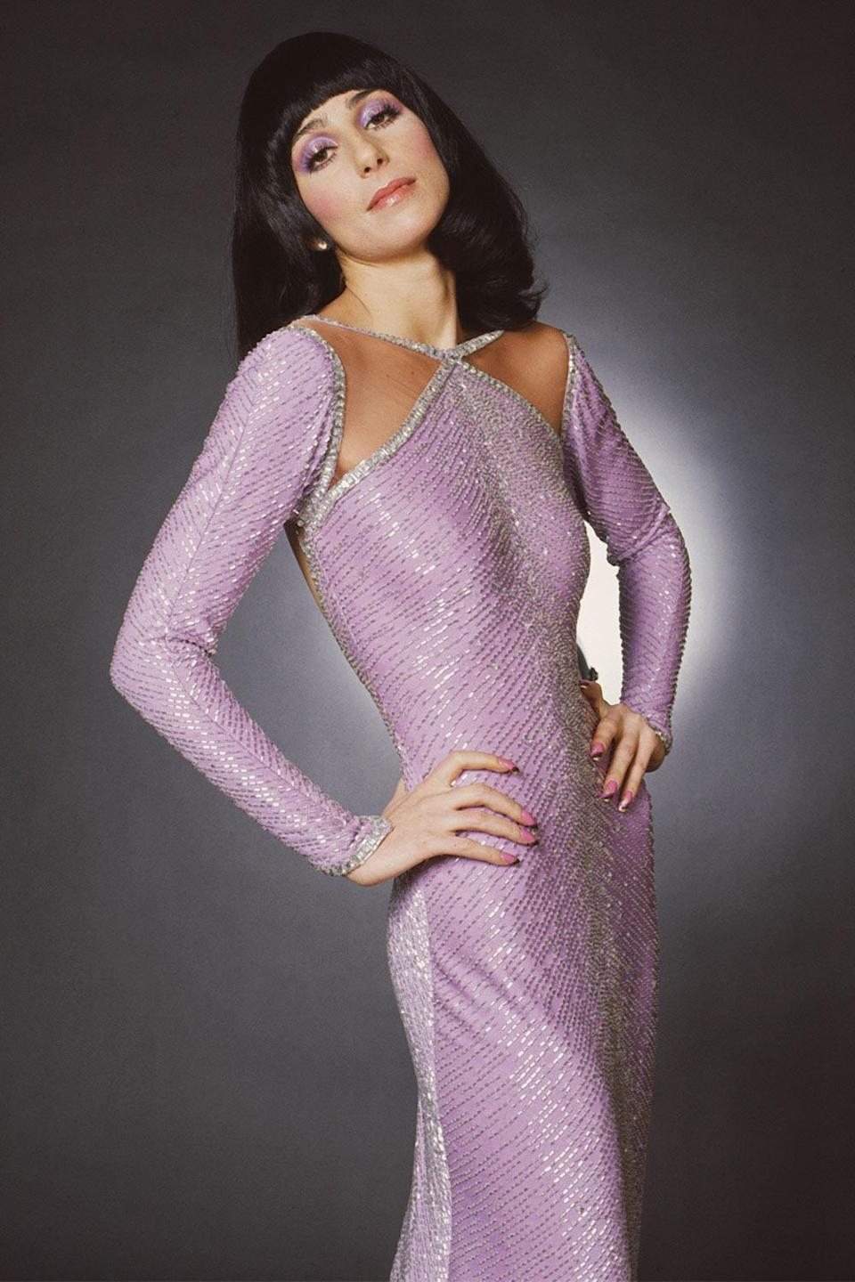 <p>In 1972, Cher looked effortlessly elegant in a lilac sequined gown for <i>The Sonny and Cher Comedy Hour. </i></p>