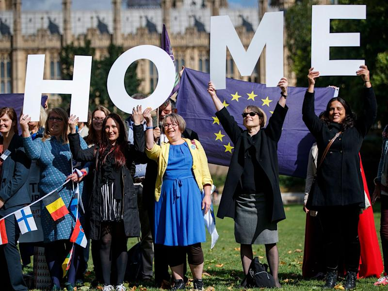 Demonstrators lobby MPs to guarantee the rights of EU citizens in the UK after Brexit during a protest outside the Houses of Parliament in September 2017: Getty
