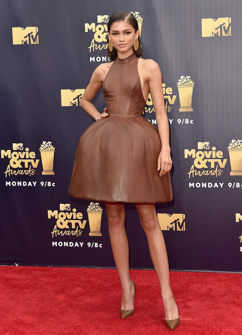For the 2019 MTV Movie and TV Awards, the singer-turned-actress chose a structured August Getty leather dress. Really pushing the trend, Zendaya even completed the outfit with matching leather shoes. <em>[Photo: Getty]</em>