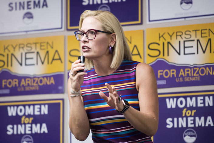 Sinema speaks to supporters at the United Food and Commercial Workers union in Phoenix on Oct. 21, 2018. (Photo: Bill Clark/CQ Roll Call/Getty Images)