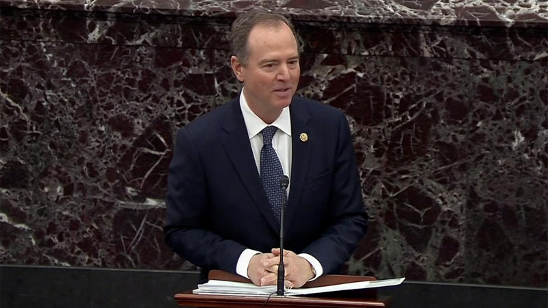 Lead House Impeachment Manager Adam Schiff gives opening remarks on the Senate floor during the Impeachment Trial of Donald Trump on Jan. 22, 2020. (Screengrab: Senate TV via Yahoo News)