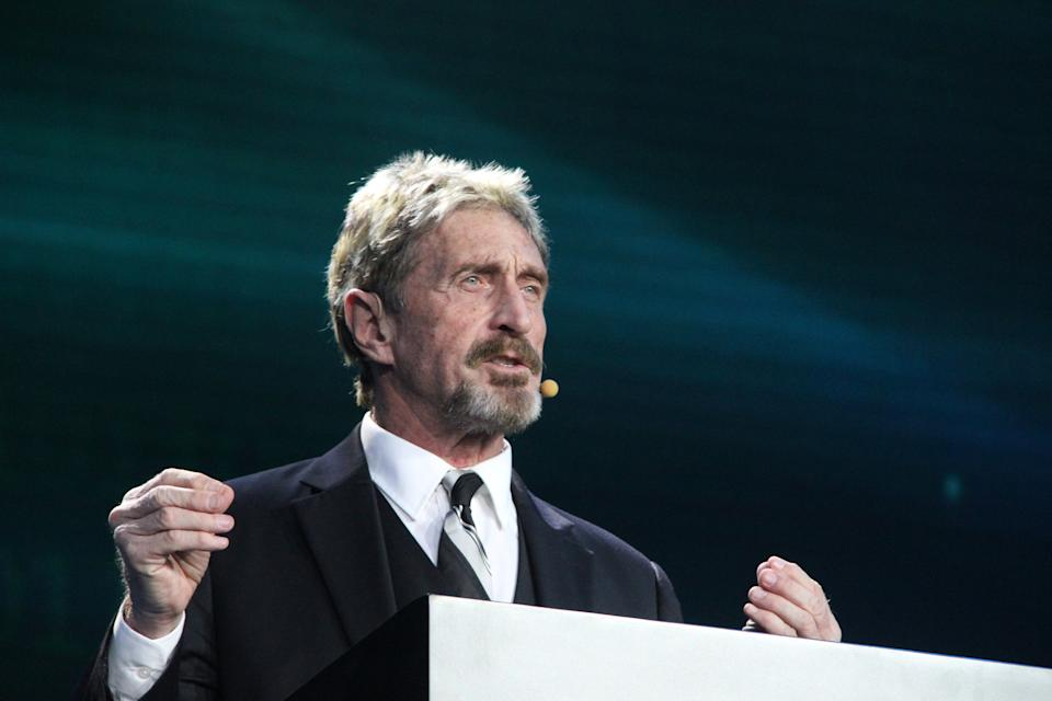 BEIJING, CHINA - AUGUST 16:  John McAfee makes speech during the China Internet Security Conference on August 16, 2016 in Beijing, China. The conference held in the National Convention Center will last till August 17. 120 top think-tank experts, 19 well-known university professors or scholars, 30 leading security companies and teams, 10 state-level safety research institutions will participate in the event and share the latest research achievements.  (Photo by Visual China Group via Getty Images/Visual China Group via Getty Images)