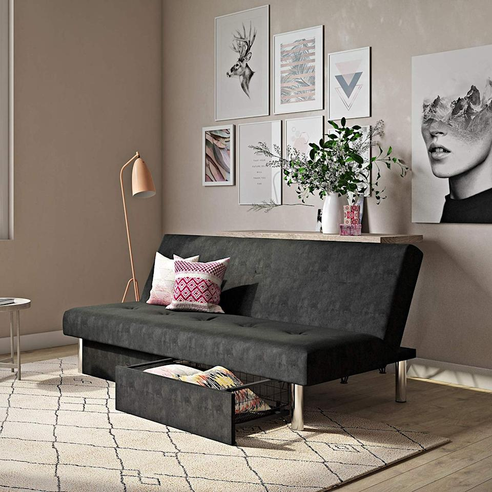 "<p>Need a little extra storage space? Get this <a href=""https://www.popsugar.com/buy/DHP%20Sola%20Convertible%20Sofa%20Futon-452714?p_name=DHP%20Sola%20Convertible%20Sofa%20Futon&retailer=walmart.com&price=160&evar1=casa%3Aus&evar9=46211256&evar98=https%3A%2F%2Fwww.popsugar.com%2Fhome%2Fphoto-gallery%2F46211256%2Fimage%2F46211297%2FDHP-Sola-Convertible-Sofa-Futon&list1=shopping%2Cfurniture%2Cwalmart%2Cbedrooms%2Csmall%20space%20living%2Cliving%20rooms%2Chome%20shopping&prop13=api&pdata=1"" rel=""nofollow"" data-shoppable-link=""1"" target=""_blank"">DHP Sola Convertible Sofa Futon </a> ($160).</p>"