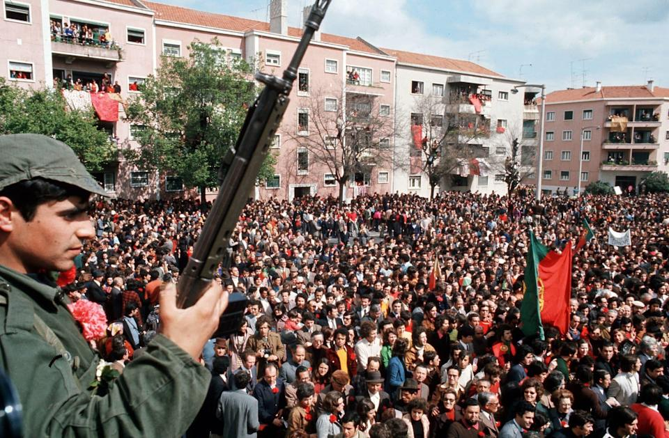 A rally in Lisbon on the day of the coup - Jean-Claude Francolon/Gamma-Rapho via Getty Images