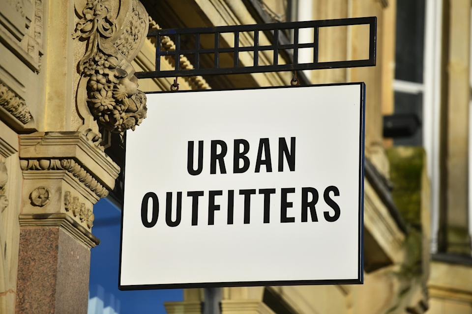 BIRMINGHAM - DECEMBER 31: The clothing retail, Urban Outfitters logo is seen outside one of its stores in Birmingham High Street on December 31, 2021 in Birmingham, England. (Photo by Nathan Stirk/Getty Images)