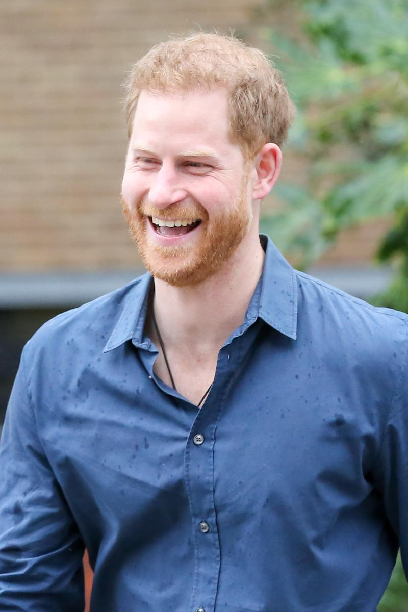 Prince Harry laughs outside Abbey Road Studios in London, United Kingdom on February 28, 2020.