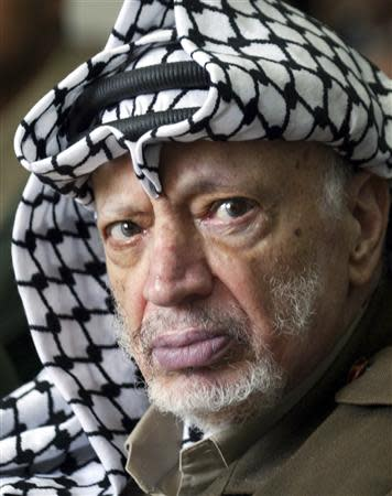 Palestinian President Yasser Arafat attends Friday prayers at a mosque adjacent to his headquarters in the West Bank town of Ramallah in this September 19, 2003 file photo. REUTERS/Ammar Awad/Files