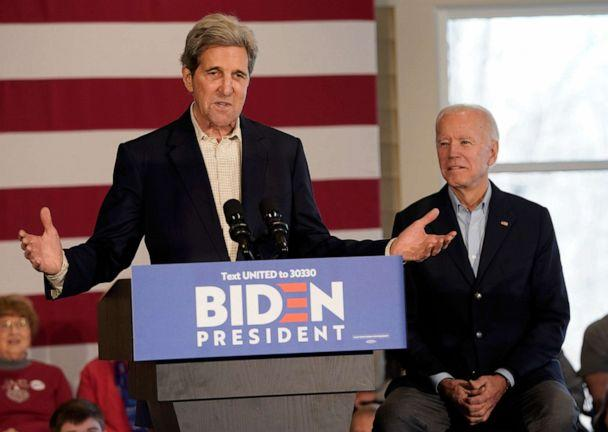 PHOTO: Democratic presidential candidate former Vice president Joe Biden campaigns with former Democratic presidential candidate John Kerry, Dec. 6, 2019, in Cedar Rapids, Iowa. (Win Mcnamee/Getty Images, FILE)