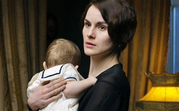 """<p>Mary's son is named after Julian Fellowe's niece's baby, George. """"His birth is commemorated on <em>Downton</em>,"""" Fellowes explained to <a href=""""http://video.pbs.org/video/2365085277/"""" rel=""""nofollow noopener"""" target=""""_blank"""" data-ylk=""""slk:PBS,"""" class=""""link rapid-noclick-resp"""">PBS, </a></p>"""