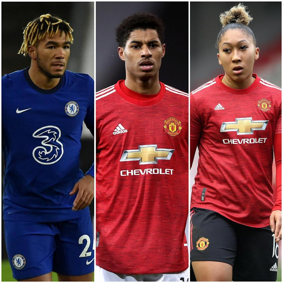 Reece James, Marcus Rashford and Lauren James have all received abuse on social media