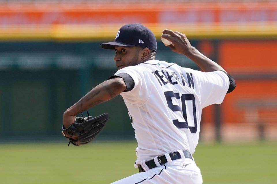 Detroit Tigers starting pitcher Julio Teheran throws during the first inning of a baseball game against the Cleveland Indians, Saturday, April 3, 2021, in Detroit.