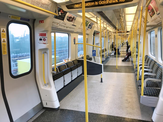 A sparsely filled carriage on a London Underground train on Monday as many people opted to work from home because of the coronavirus. (PA Images via Getty Images)