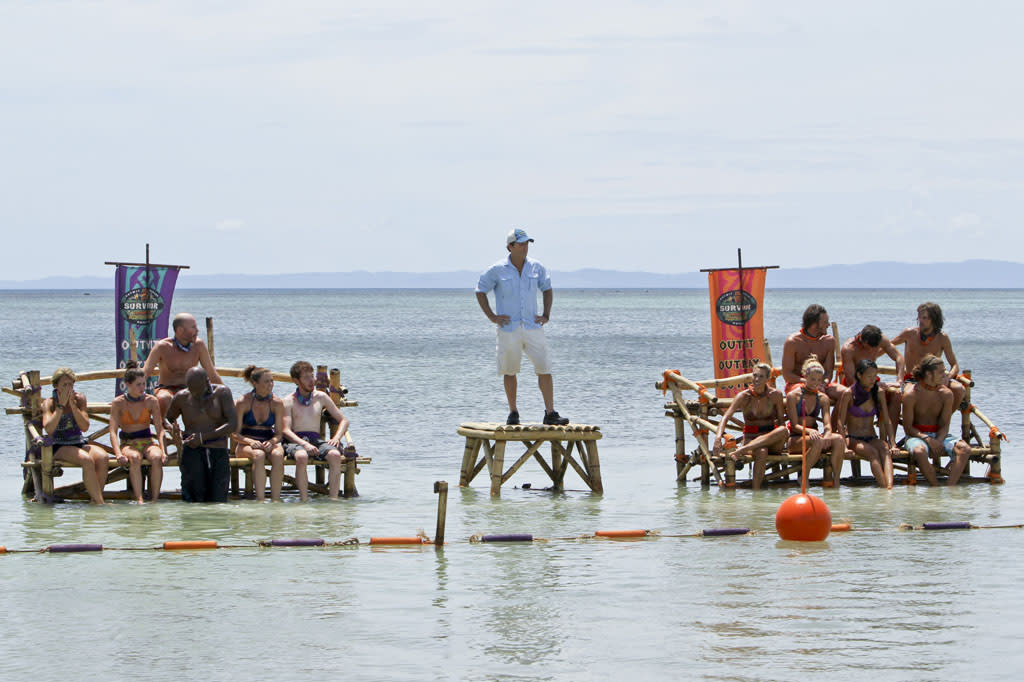 """Tubby Lunchbox"" - Jeff Probst and the two tribes get ready to compete in the reward challenge during the seventh episode of ""Survivor: Caramoan - Fans vs. Favorites."""