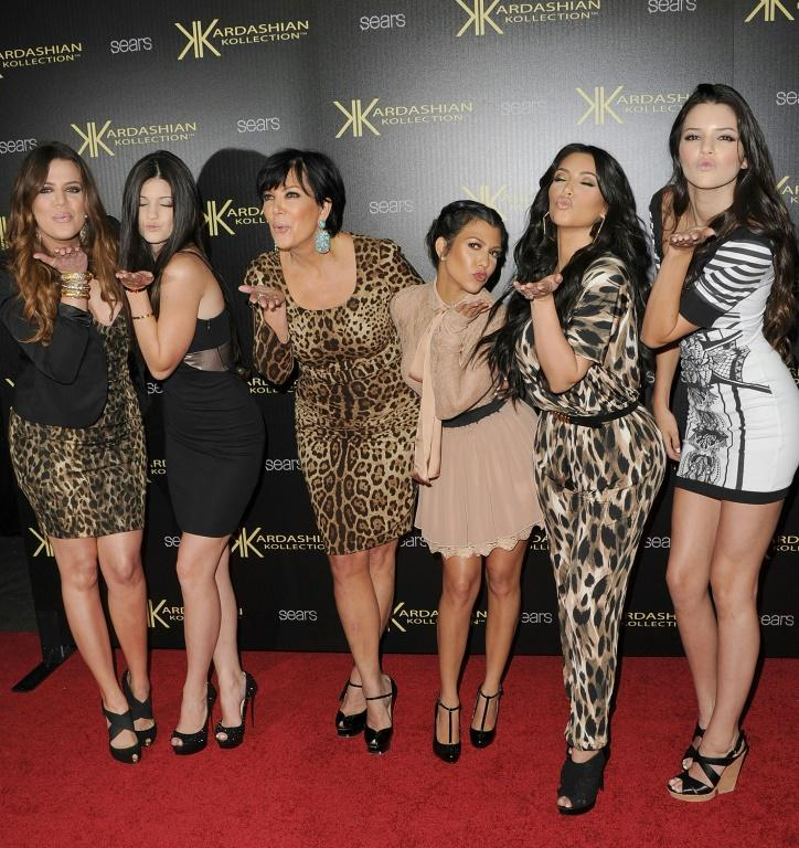 Khloe Kardasian, Kylie Jenner, Kris Kardashian, Kourtney Kardashian, Kim Kardashian, and Kendall Jenner at a launch party in 2011