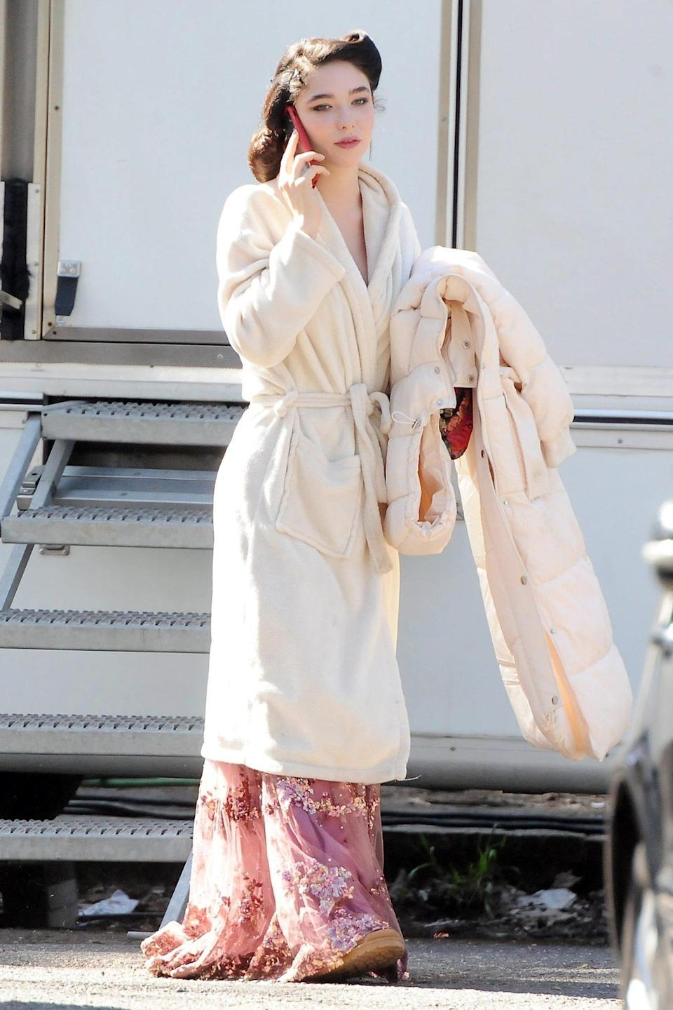 <p>Matilda De Angelis serves up old-fashioned glamour while on the set of <i>Robbing Mussolini</i> in Rome on Friday. </p>