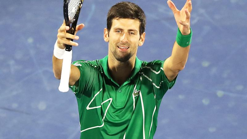 Novak Djokovic, pictured here celebrating after winning his quarter-final in Dubai.