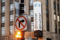 A sign hangs at Twitter headquarters on Monday, Jan. 11, 2021, in San Francisco. (AP Photo/Noah Berger)