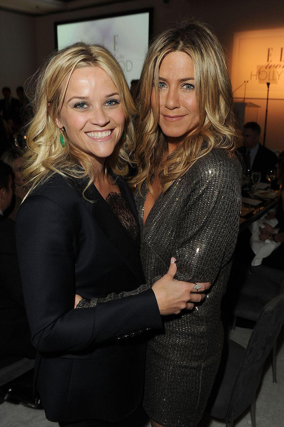 <p>Reese Witherspoon and Jen? In one photo? This is what power looks like, and Elle magazine recognized that in 2011 at its annual Women in Hollywood Tribute. (This year, they'll be starring together in Apple TV+ original <em>The Morning Show</em>!)<br></p>