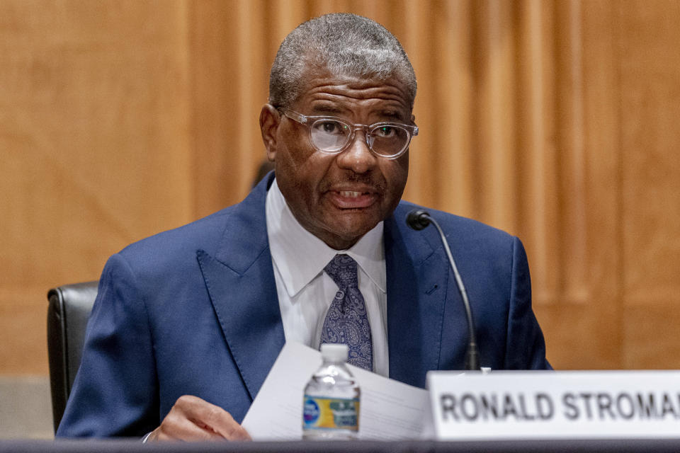 Ronald Stroman, one of the nominees for Postal Service Governors, speaks at a Senate Governmental Affairs Committee hybrid nominations hearing on Capitol Hill, Thursday, April 22, 2021, in Washington. (AP Photo/Andrew Harnik)