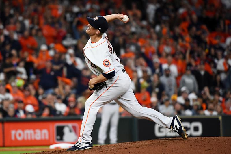HOUSTON, TX - OCTOBER 12: Zack Greinke #21 of the Houston Astros pitches during Game 1 of the ALCS between the New York Yankees and the Houston Astros at Minute Maid Park on Saturday, October 12, 2019 in Houston, Texas. (Photo by Cooper Neill/MLB Photos via Getty Images)